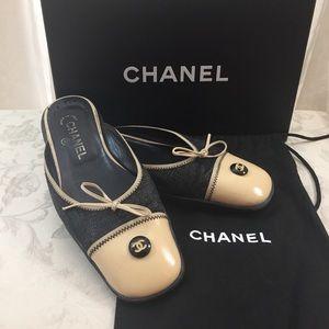 🆕 Chanel CC denim leather Mules